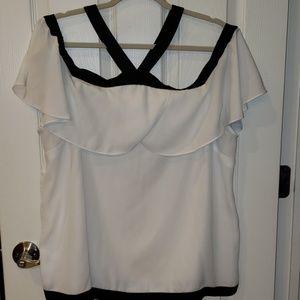 White/Blk Open Shoulders Blouse